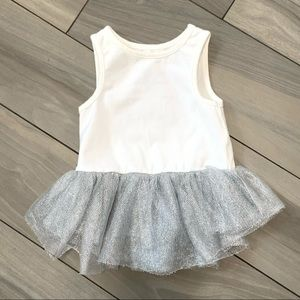 Pippa & Julie White Tank Top w/ Attached Tulle 18m